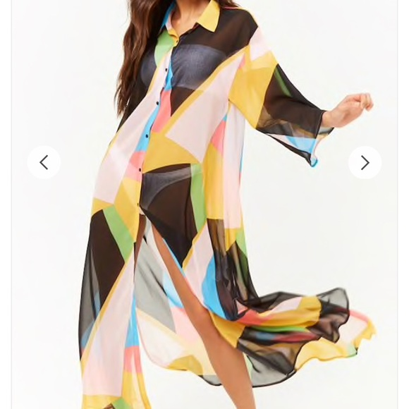 8b4a8f3cefbee NWT FOREVER 21 COLOR BLOCK SWIM COVER UP